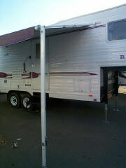 The RV awning in the patio position.